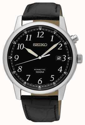 Seiko Montre cinétique pour homme avec bracelet noir et cadran noir SKA781P1