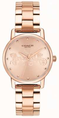 Coach Womens grand bracelet en or rose et montre de cas 14502977