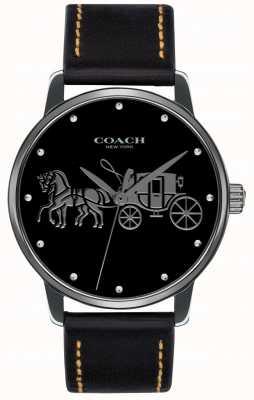Coach Womens grand étui noir et bracelet en cuir noir 14502974