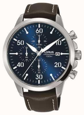 Lorus Montre chronographe homme bracelet en cuir marron cadran bleu RM353EX9