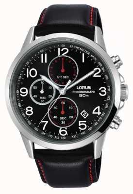 Lorus Montre chronographe homme bracelet cuir noir cadran noir RM369EX8
