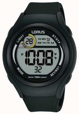 Lorus Montre de sport numérique en caoutchouc lorus unisexe noir R2373LX9