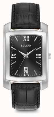 Bulova Bracelet noir rectangulaire classique pour hommes 96B269