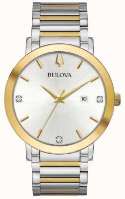 Bulova Bracelet homme bicolore cadran argenté 98D151