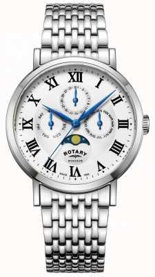 Rotary Mens windsor moonphase montre argent ton bracelet GB05325/01
