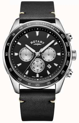 Rotary Montre henley homme noir chrono cadran noir bracelet en cuir GS05115/04