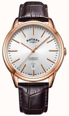 Rotary Montre cambridge pour homme en or rose avec bracelet en cuir GS05252/02