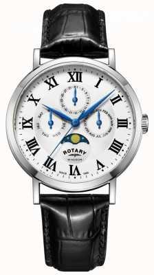 Rotary Mens windsor moonphase jour date montre bracelet en cuir noir GS05325/01