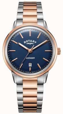 Rotary Montre de vengeur pour homme | bracelet en acier inoxydable | cadran bleu | GB05342/05
