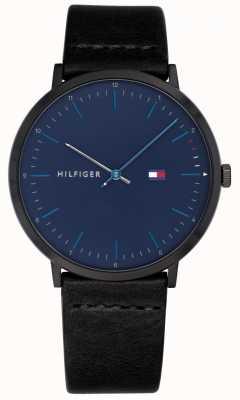 Tommy Hilfiger Mens james montre bracelet en cuir noir cadran bleu 1791462