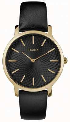 Timex Womens skyline 34mm bracelet en cuir noir cadran noir TW2R36400