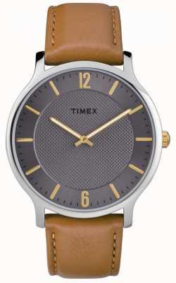 Timex Mince skyline homme 40mm bracelet en cuir marron cadran gris TW2R49700