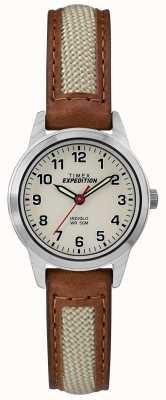 Timex Cadran naturel en cuir beige Field mini TW4B11900