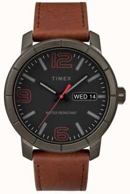 Timex Mens mod 44 tan bracelet en cuir noir cadran TW2R64000