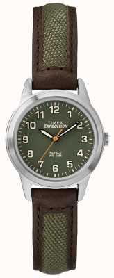 Timex Cadran vert en cuir mini front field TW4B12000