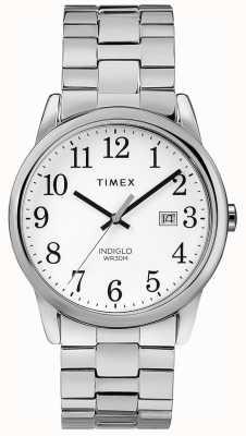 Timex Cadran blanc en acier inoxydable avec bande extensible pour hommes de 38 mm TW2R58400