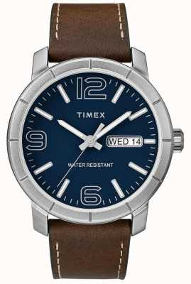 Timex Mens mod 44 bracelet en cuir marron cadran bleu TW2R64200