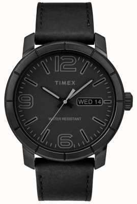 Timex Mens mod 44 bracelet en cuir noir cadran noir TW2R64300