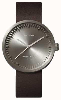 Leff Amsterdam Tube montre d42 boîtier en acier bracelet en cuir marron LT72002