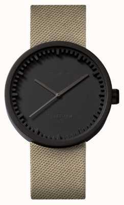 Leff Amsterdam Tube montre d42 boîtier noir sable bracelet en cordura LT72013