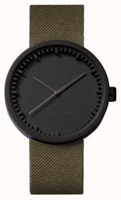 Leff Amsterdam Tube montre d42 noir bracelet cordura vert LT72014