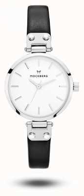 Mockberg Astrid petite bracelet en cuir noir cadran blanc MO202