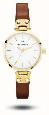 Mockberg Ilse petit bracelet en cuir marron cadran blanc MO208
