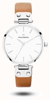 Mockberg Bracelet en cuir marron pour femme avec cadran blanc MO1006