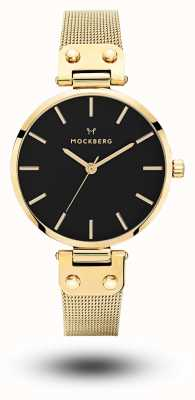 Mockberg Livia noir or pvd plaqué maille cadran noir MO1603
