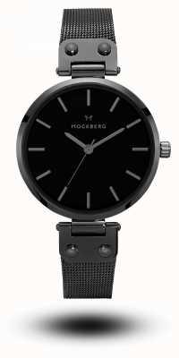 Mockberg Lio noir pvd plaqué bracelet en maille cadran noir MO305