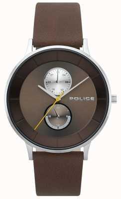 Police Montre à bracelet en cuir marron berkeley pour homme 15402JS/12