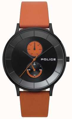 Police Montre à bracelet en cuir orange berkeley pour homme 15402JSB/02
