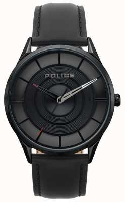 Police Cuir burbank homme noir, montre ip iphone noir 15399JSB/02