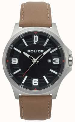 Police Montre clan en cuir marron clair homme 15384JS/02
