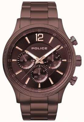 Police Montre à bracelet plaqué ip brun foncé feral 15302JSBN/12M