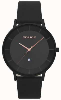 Police Montre à cadran noir en cuir noir pour homme Fontana 15400JSB/02