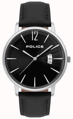 Police Montre en cuir noir de vertu masculine 15307JS/02
