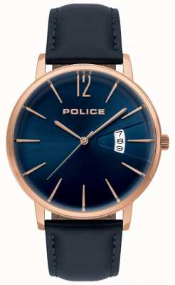Police Montre homme en cuir bleu vertu 15307JSR/03