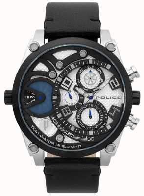 Police Mens vigor bracelet en cuir noir 15381JSTB/04