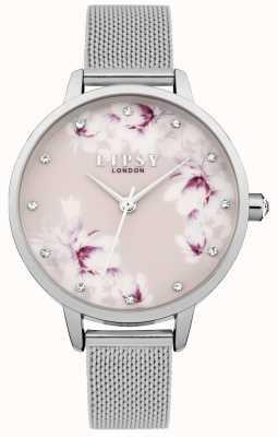 Lipsy Womens argent maille rose montre à cadran floral LP576