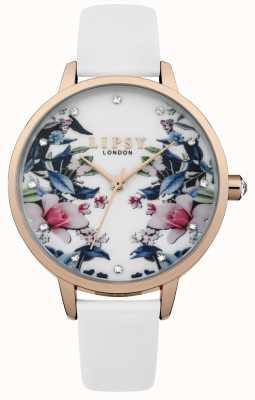 Lipsy Montre à cadran floral à bracelet blanc pour femme LP572
