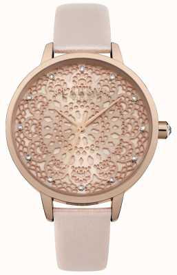 Lipsy Montre à cadran avec motif en dentelle or rose pour femme LP571