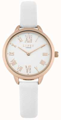 Lipsy Montre femme en or rose avec bracelet blanc LP579