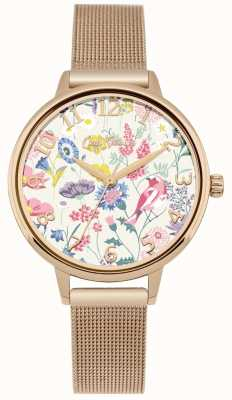 Cath Kidston Womens floral cadran rose maille or montre CKL051RGM