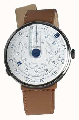 Klokers Klok 01 bleu tête de montre caramel brun strait sangle unique KLOK-01-D4.1+KLINK-04-LC12