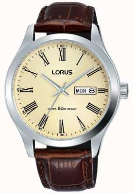 Lorus Boîtier en acier inoxydable bracelet en cuir chiffres romains crème RXN53DX9