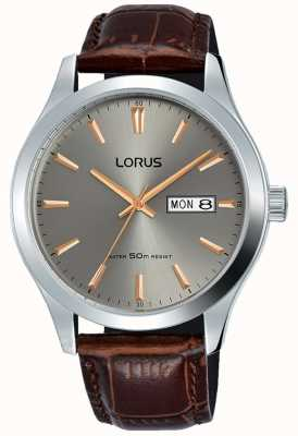 Lorus Boîtier en acier inoxydable cadran gris bracelet en cuir marron RXN61DX9