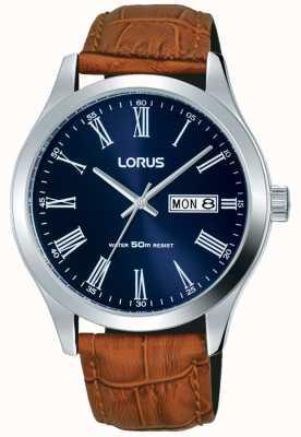Lorus Bracelet en cuir marron cadran bleu foncé date et affichage du jour RXN55DX9