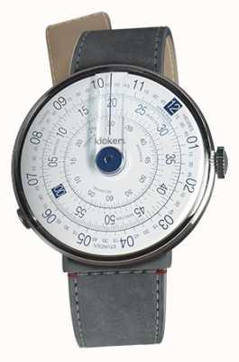 Klokers Klok 01 bleu tête de montre gris alcantara strait sangle unique KLOK-01-D4.1+KLINK-04-LC11