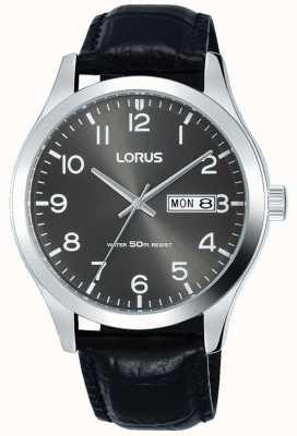 Lorus Bracelet en cuir noir avec cadran gris date et date RXN59DX9